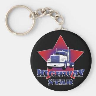 Camionero de la estrella de la carretera llavero redondo tipo pin