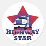 Camionero de la estrella de la carretera pegatinas redondas