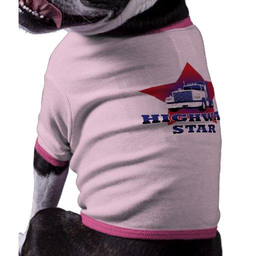 Camionero de la estrella de la carretera camisetas de perrito