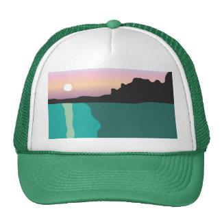 Camionero de la puesta del sol del lago gorras