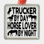 Camionero del amante del caballo adorno de navidad