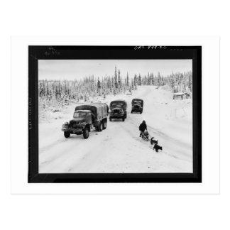 Camiones de Alaska de Dogsled y de ejército Tarjeta Postal