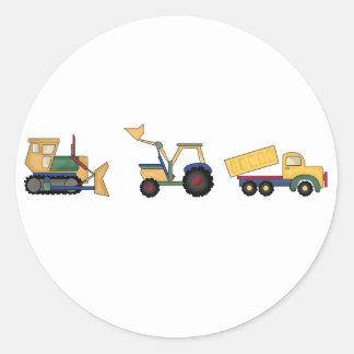 Camiones de la construcción pegatina redonda