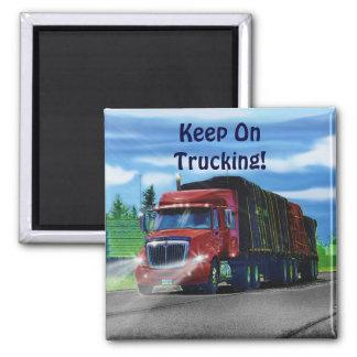 Camiones para los camioneros y los Camión-amantes Imán Cuadrado