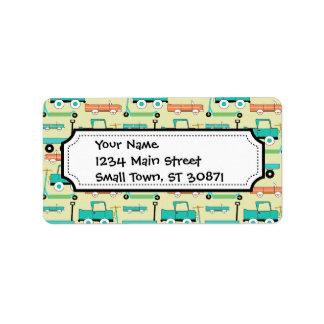 Camiones retros de los carros de los coches de las etiquetas de dirección