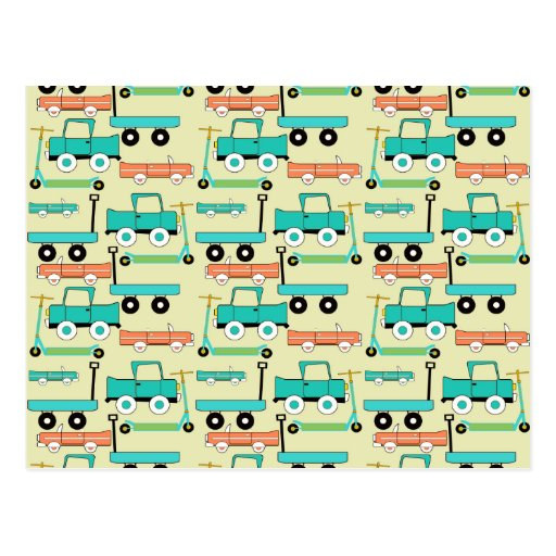 Camiones retros de los carros de los coches de las tarjetas postales