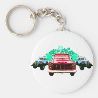 Camiones rojos coloridos del vintage llavero redondo tipo pin