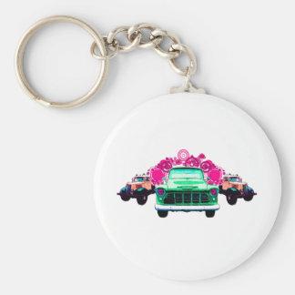 Camiones verdes coloridos del vintage llavero redondo tipo pin