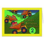 Camiones volquete con las magdalenas, cumpleaños p felicitacion