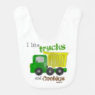 Camiones y galletas (amarillo) baberos