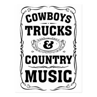 Camiones y música country de los vaqueros postal