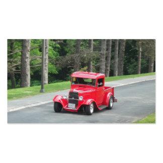 Camioneta pickup antigua clásica del rojo de v8 tarjetas de visita