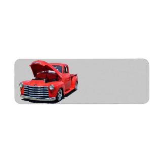 Camioneta pickup clásica de Chevrolet de los años  Etiqueta De Remitente