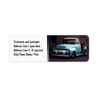 Camioneta pickup del azul del vintage etiquetas de remite