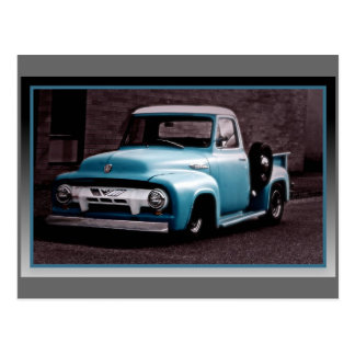 Camioneta pickup del azul del vintage tarjetas postales