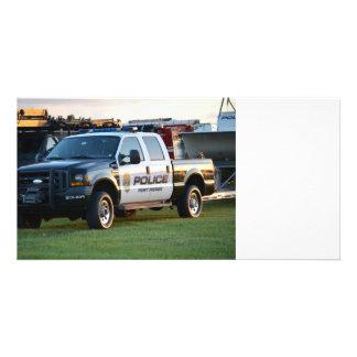 camioneta pickup del Departamento de Policía de Tarjeta Fotografica