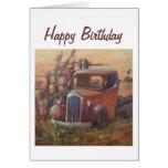 Camioneta pickup del feliz cumpleaños tarjetón
