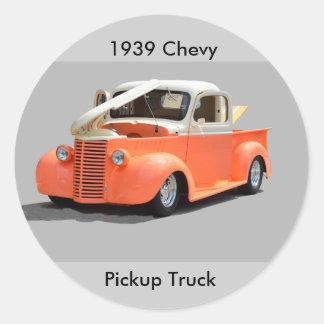 Camioneta pickup restaurada 1939 pegatina redonda