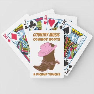 Camionetas pickup de las botas de vaquero de la cartas de juego
