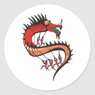 Camisa 43 del dragón pegatina redonda