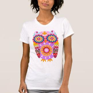 Camisa abstracta colorida del búho