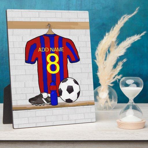 Camisa adaptable del fútbol (azul y rojo) placa de madera