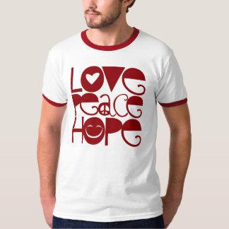 Camisa adulta, esperanza de la paz del amor, roja