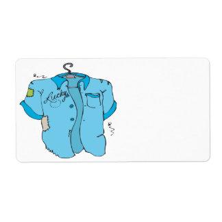 Camisa afortunada de los bolos etiqueta de envío