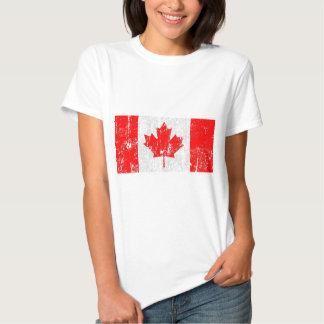 Camisa apenada vintage de la bandera de Canadá