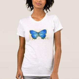 Camisa azul de las señoras de la mariposa