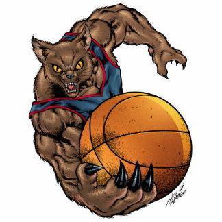 Camisa azul del arte del baloncesto de los gatos m esculturas fotográficas