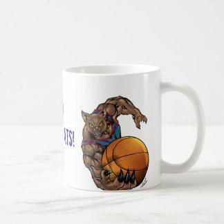 Camisa azul del arte del baloncesto de los gatos m tazas de café