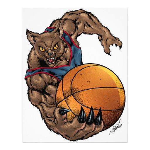 Camisa azul del arte del baloncesto de los gatos plantillas de membrete