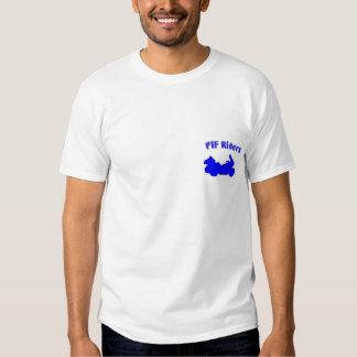 Camisa azul del logotipo