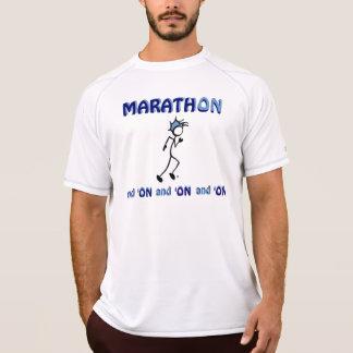 Camisa azul del maratón en blanco