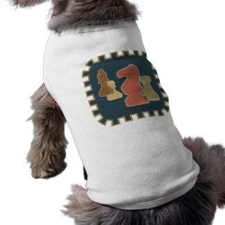 Camisa azul del mascota de los pedazos de ajedrez playera sin mangas para perro