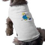Camisa azul del muchacho con los polluelos amarill camisa de perro