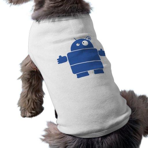 Camisa azul linda del perro del robot camisetas de perrito