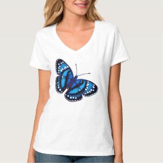 Camisa azul tropical de las señoras de la mariposa