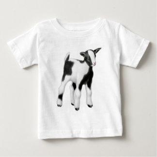 Camisa blanca negra del bebé del niño de la cabra