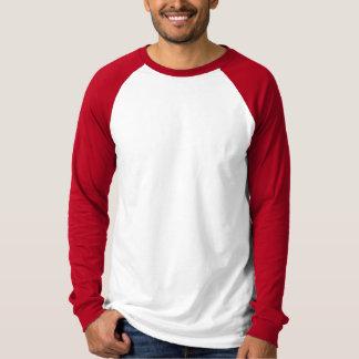 Camisa blanca, roja llana del raglán para los