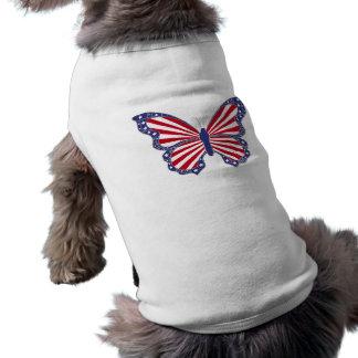 Camisa blanca y azul roja patriótica del perro de playera sin mangas para perro