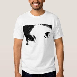 Camisa (blanco y negro) de los ojos de gato