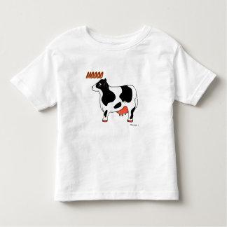 Camisa blanco y negro del niño de la vaca de MOOOO