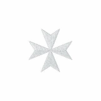 Camisa bordada blanca de la cruz maltesa sudadera con capucha