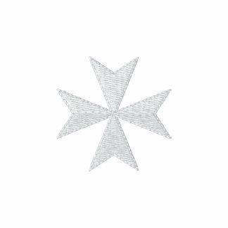 Camisa bordada blanca de la cruz maltesa sudadera bordada