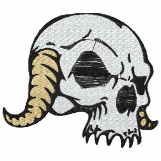 Camisa bordada cráneo de cuernos sudadera bordada con capucha