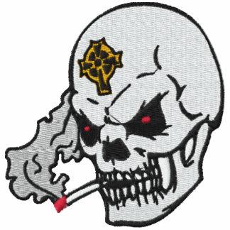 Camisa bordada cráneo que fuma sudadera bordada