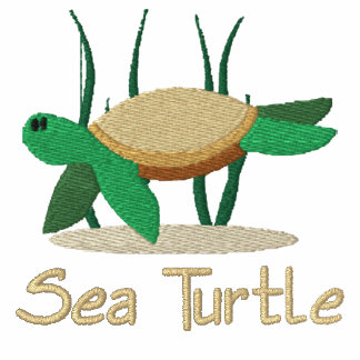 Camisa bordada de la tortuga de mar verde (camiset