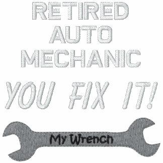 Camisa bordada mecánico de automóviles jubilada sudadera con capucha